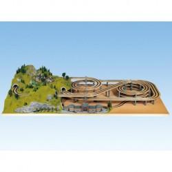 NOCH 53005 - LAGGIES Gleiswendel-Komplettbausatz, Grundkreis, Gleisradius 420/483 mm, 1- oder 2-gleisig