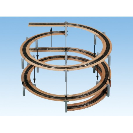NOCH 53107 - LAGGIES Gleiswendel-Komplettbausatz, Aufbaukreis, Gleisradius 481/542,8 mm, 1- oder 2-gleisig
