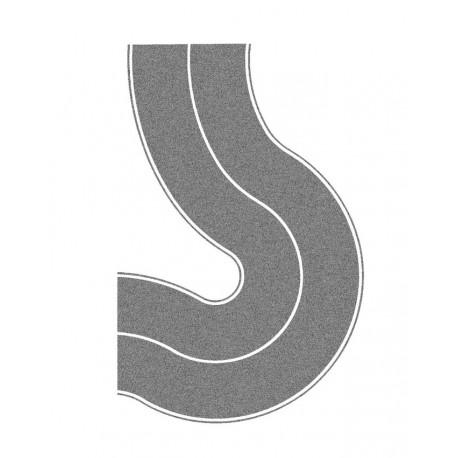 NOCH 60704 - Bundesstraße Universalkurve, grau, 2 Stück, je 8 cm breit